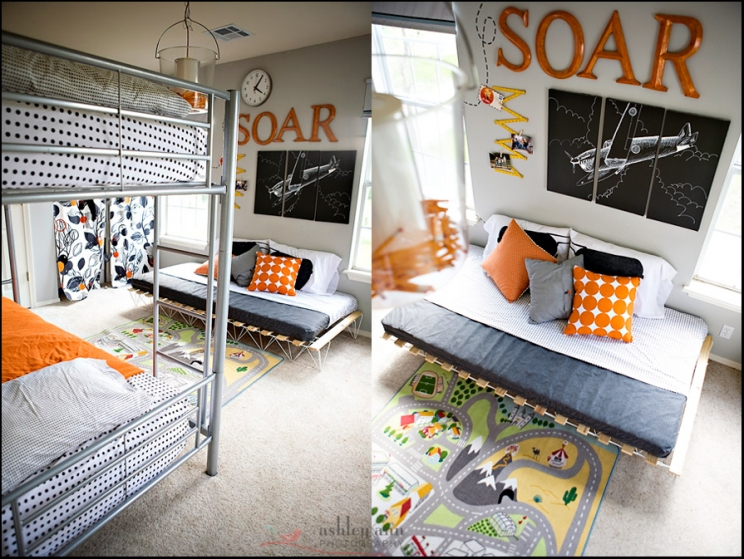 Orange Airplanes Not Girly shared Boys Bedroom